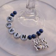 New York Personalised Wine Glass Charm